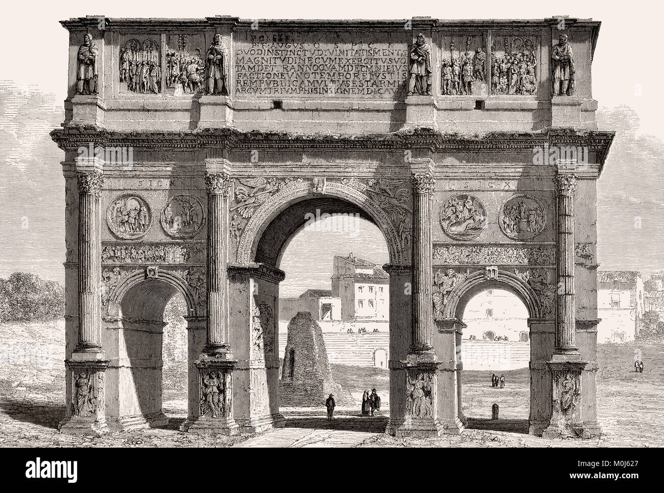 The Arch of Constantine, Via triumphalis, Rome, Italy, 19th Century - Stock Image