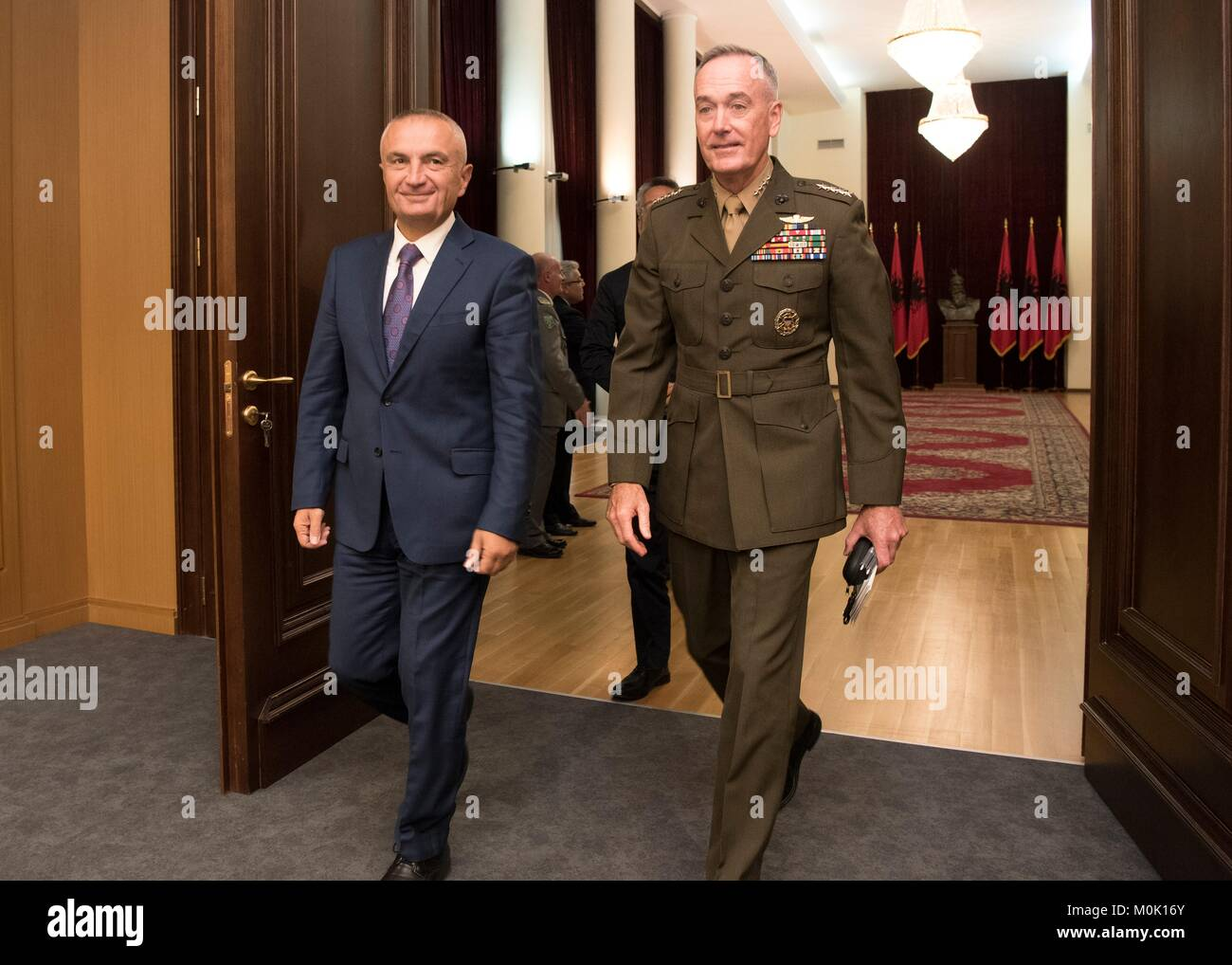 Albanian President Ilir Meta (left) meets with U.S. Joint Chiefs of Staff Chairman Joseph Dunford before the North - Stock Image