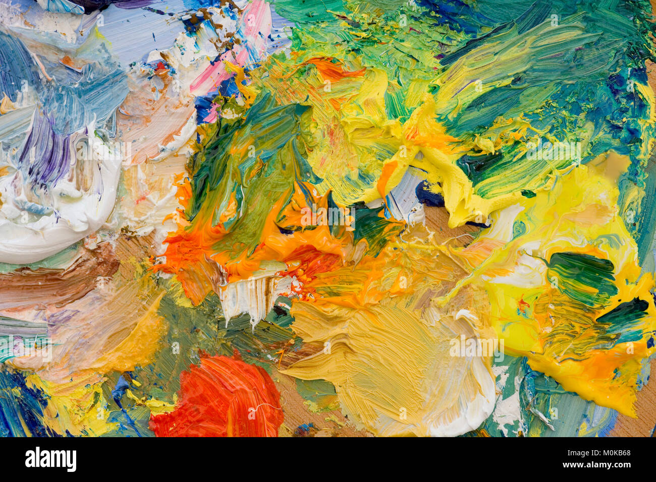 Artists oil paints multi coloured close up semi abstract - Stock Image
