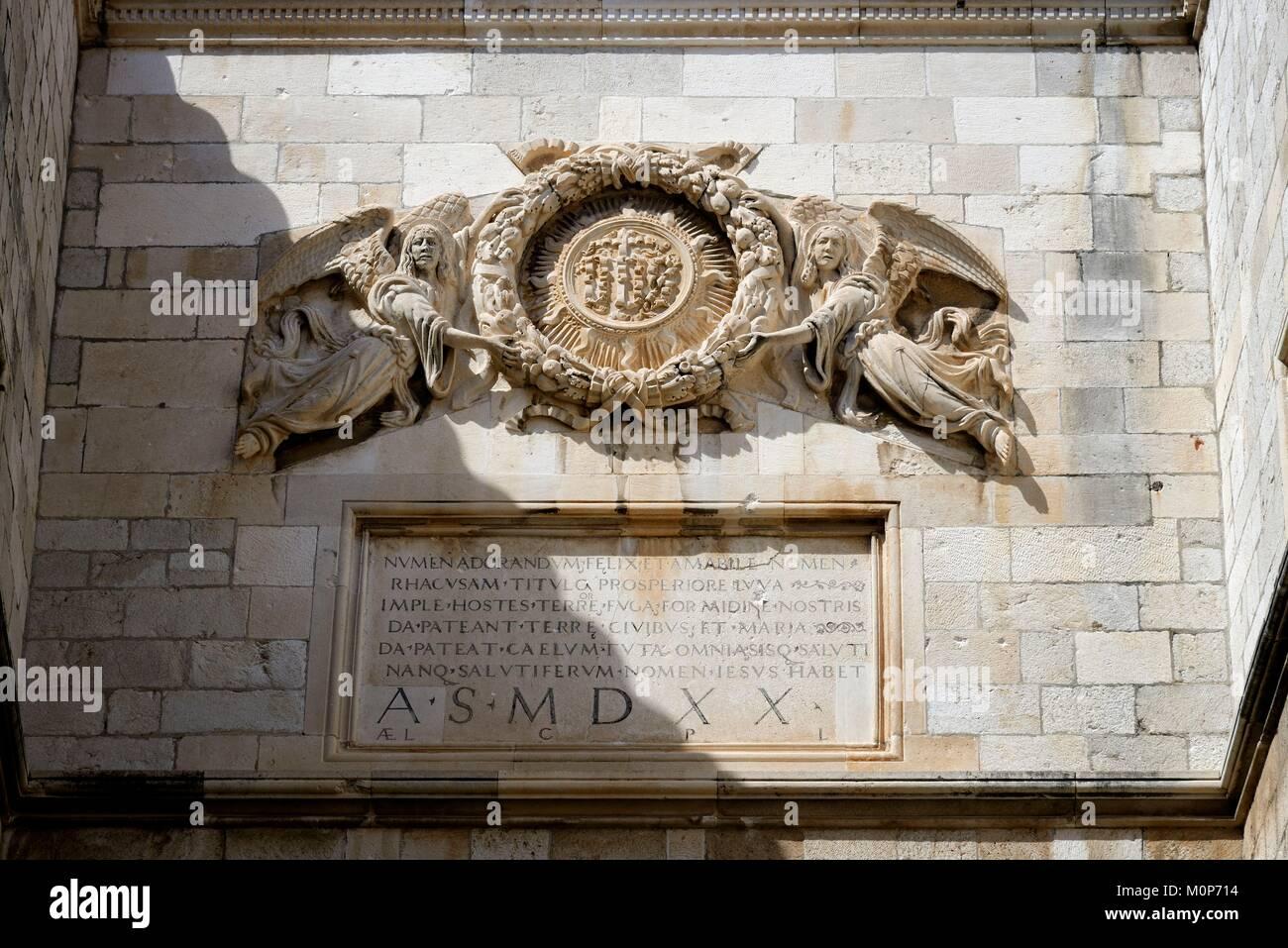 Croatia,Dalmatia,Dalmatian Coast,Dubrovnik,historical centre listed as World Heritage by UNESCO,the Sponza Palace - Stock Image