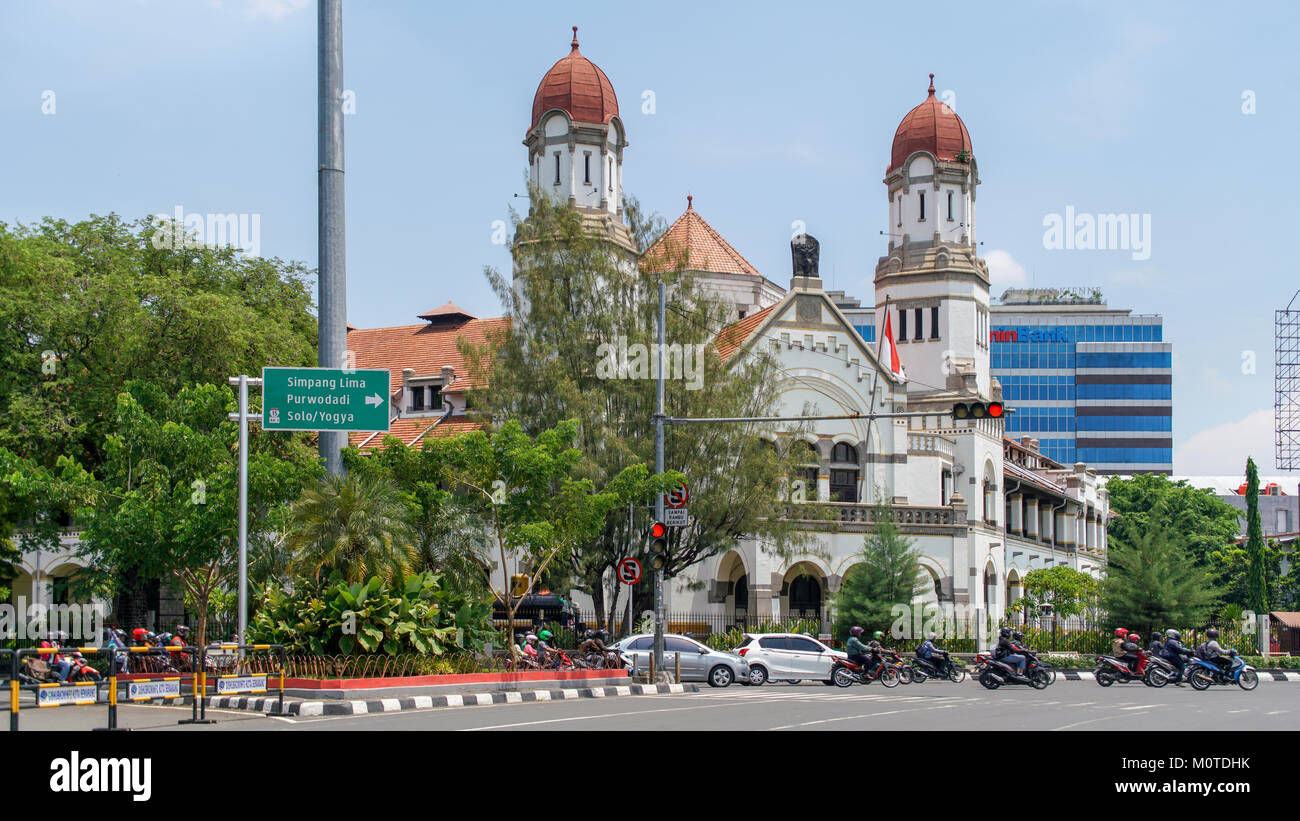 Lawang Sewu ('Thousand Doors') is a landmark in Semarang, Java, Indonesia. Originally built as the headquarters - Stock Image