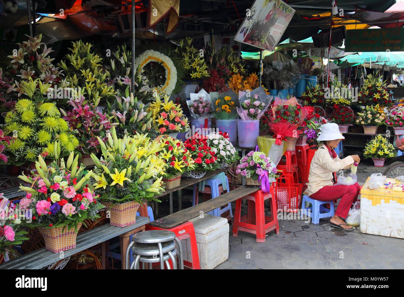 flower seller in the central market phnom penh cambodia Stock Photo