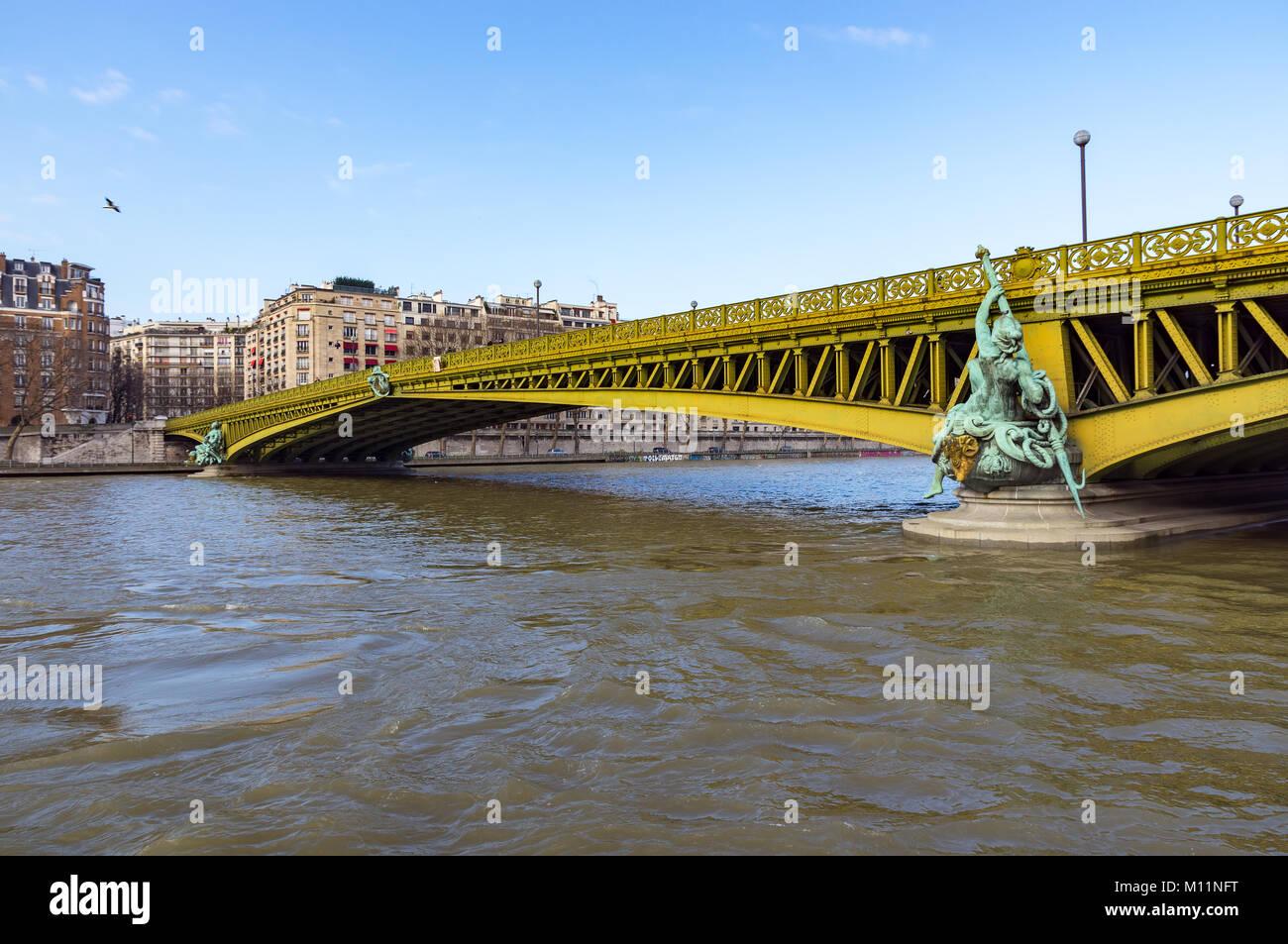 Pont Mirabeau over the Seine - Paris France. - Stock Image