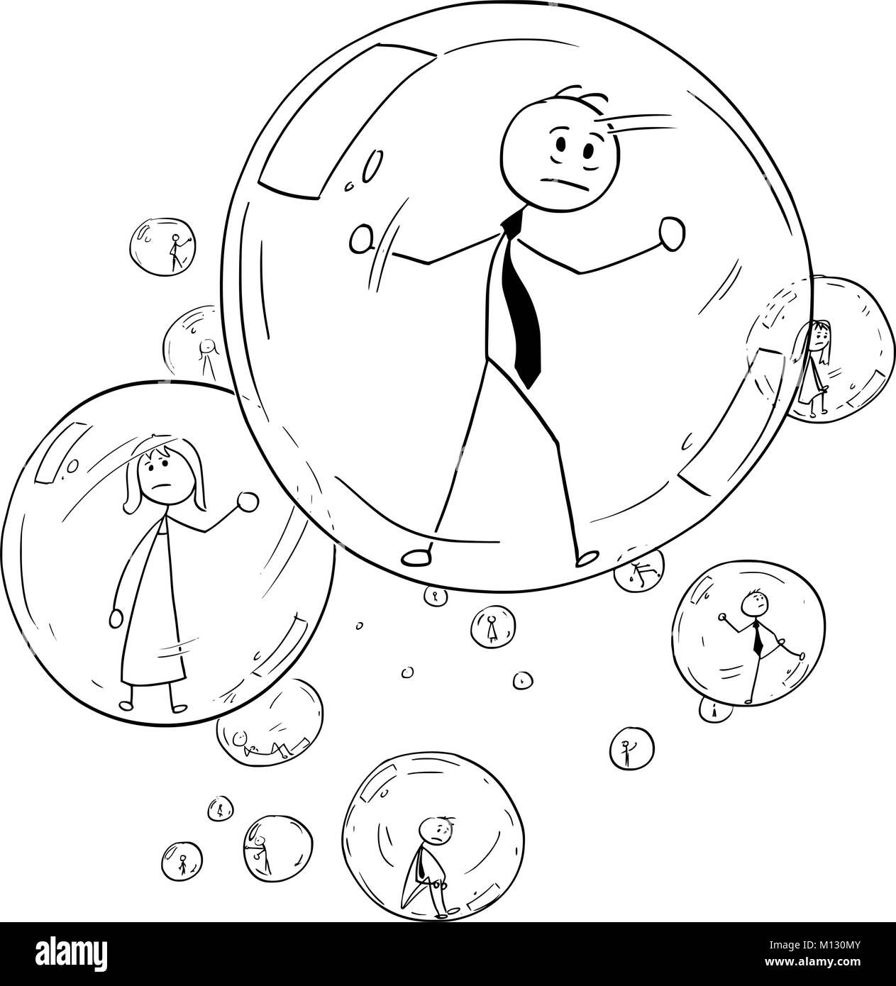 Conceptual Cartoon of Business people Imprisoned Inside the Glass Bubbles - Stock Image