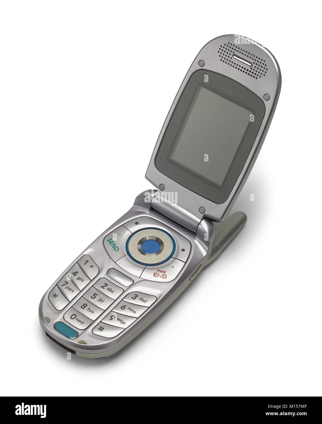 Old Vintage Grey Flip Phone Open Isolated on a White Background. Stock Photo