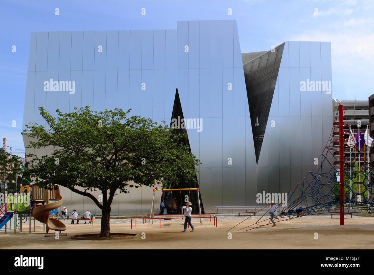 View of the Kazuyo Sejima-designed Sumida Hokusai Museum which is located in central Tokyo. Photo taken June 2017. - Stock Image