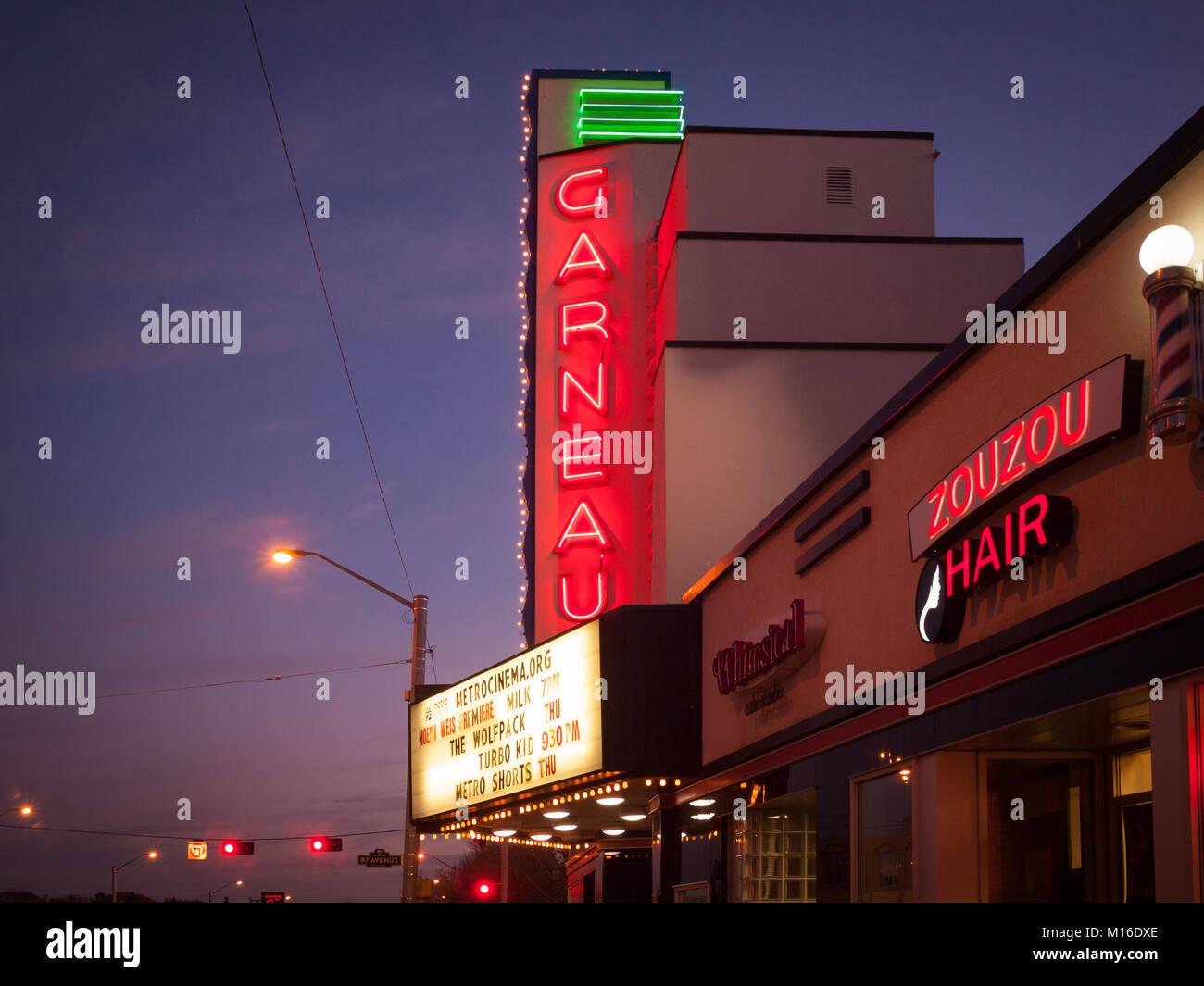 A night view of the historic Garneau Theatre in the Garneau / University of Alberta area of Edmonton, Alberta, Canada. - Stock Image