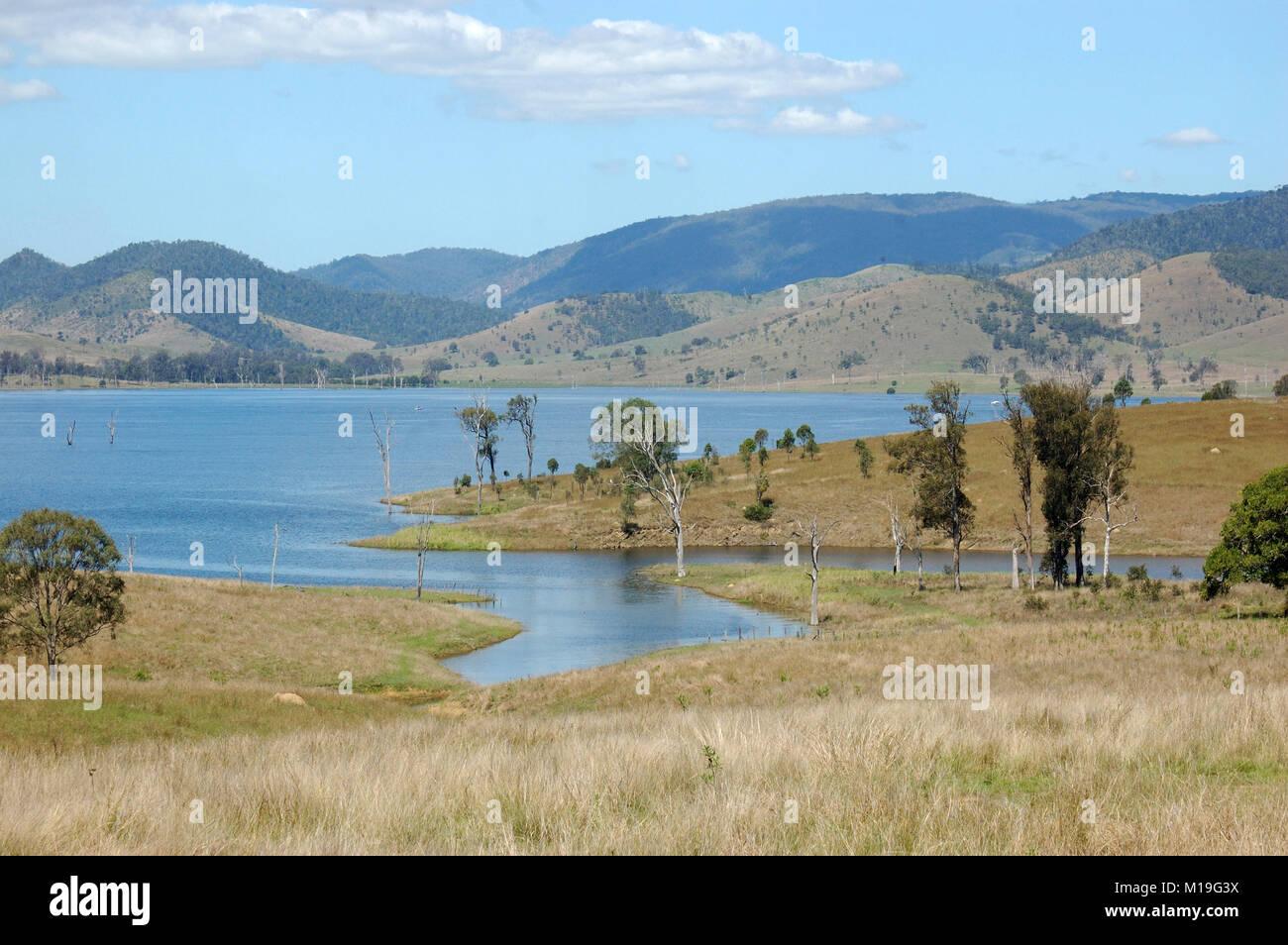 Somerset Dam during drought, Queensland, Australia - Stock Image