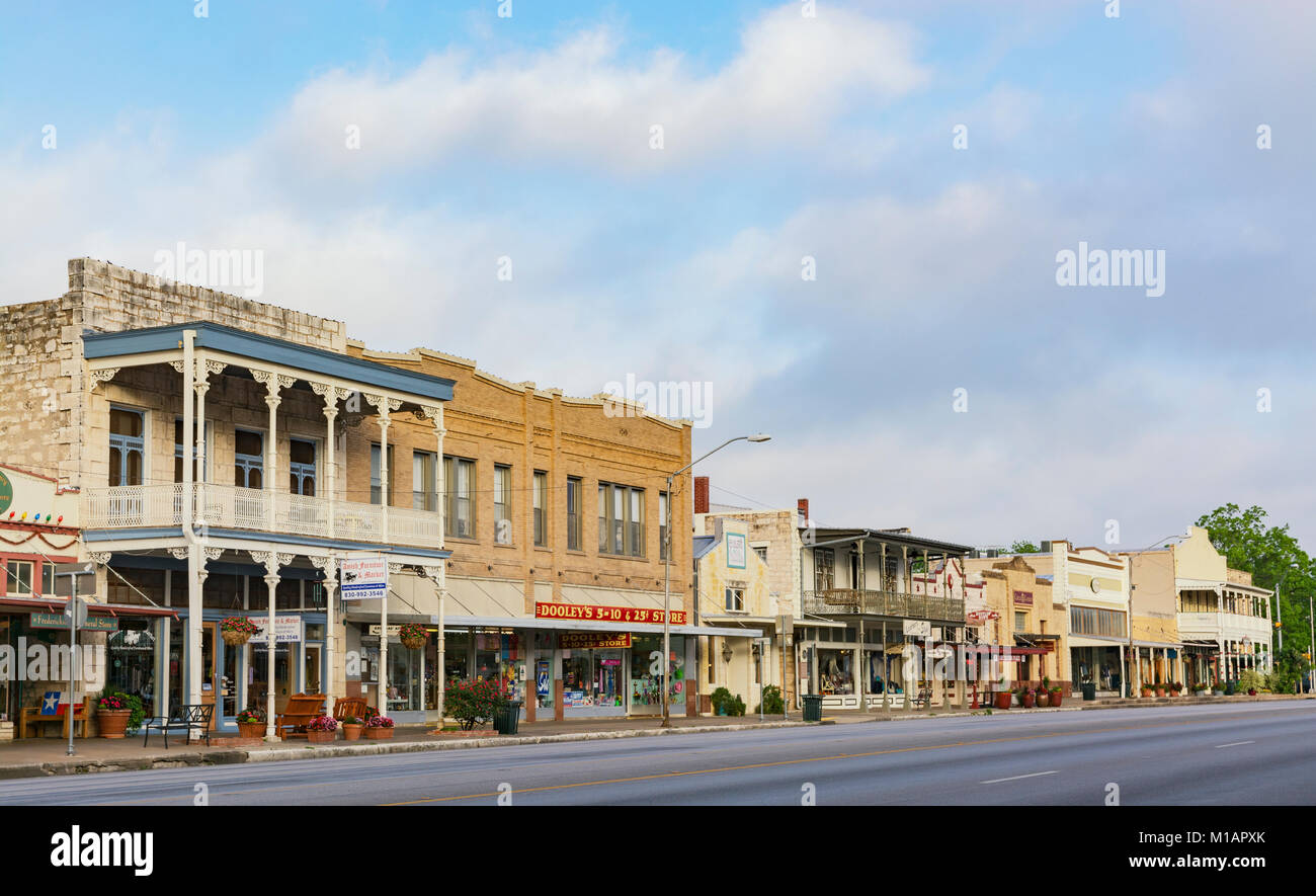 Texas, Hill Country, Fredericksburg, Downtown, Main Street, shops, restaurants Stock Photo