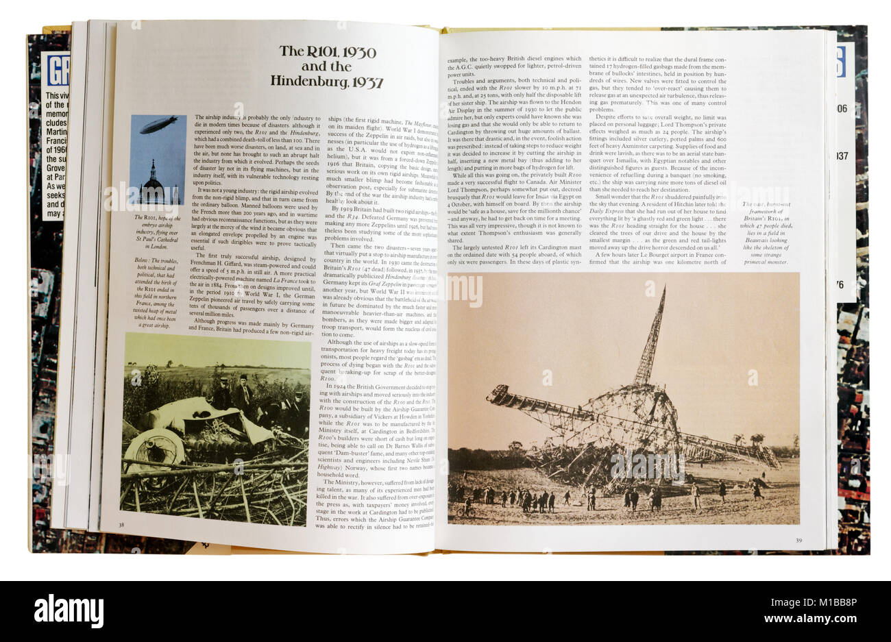 A book of disasters open to the page about the crash of R101 and the Hindenburg - Stock Image