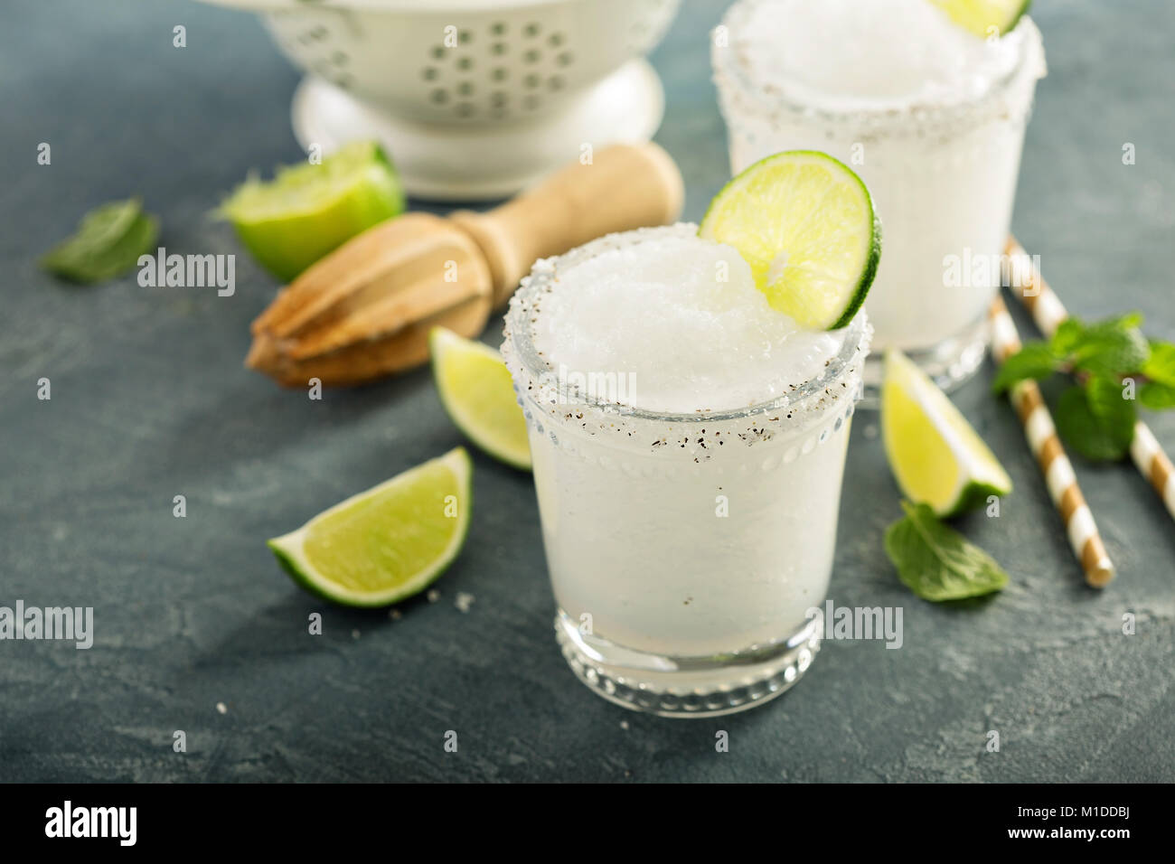Frozen lime and mint margarita Stock Photo