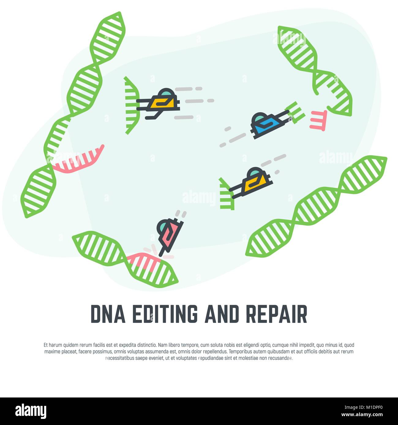 DNA editing nano bots - Stock Image