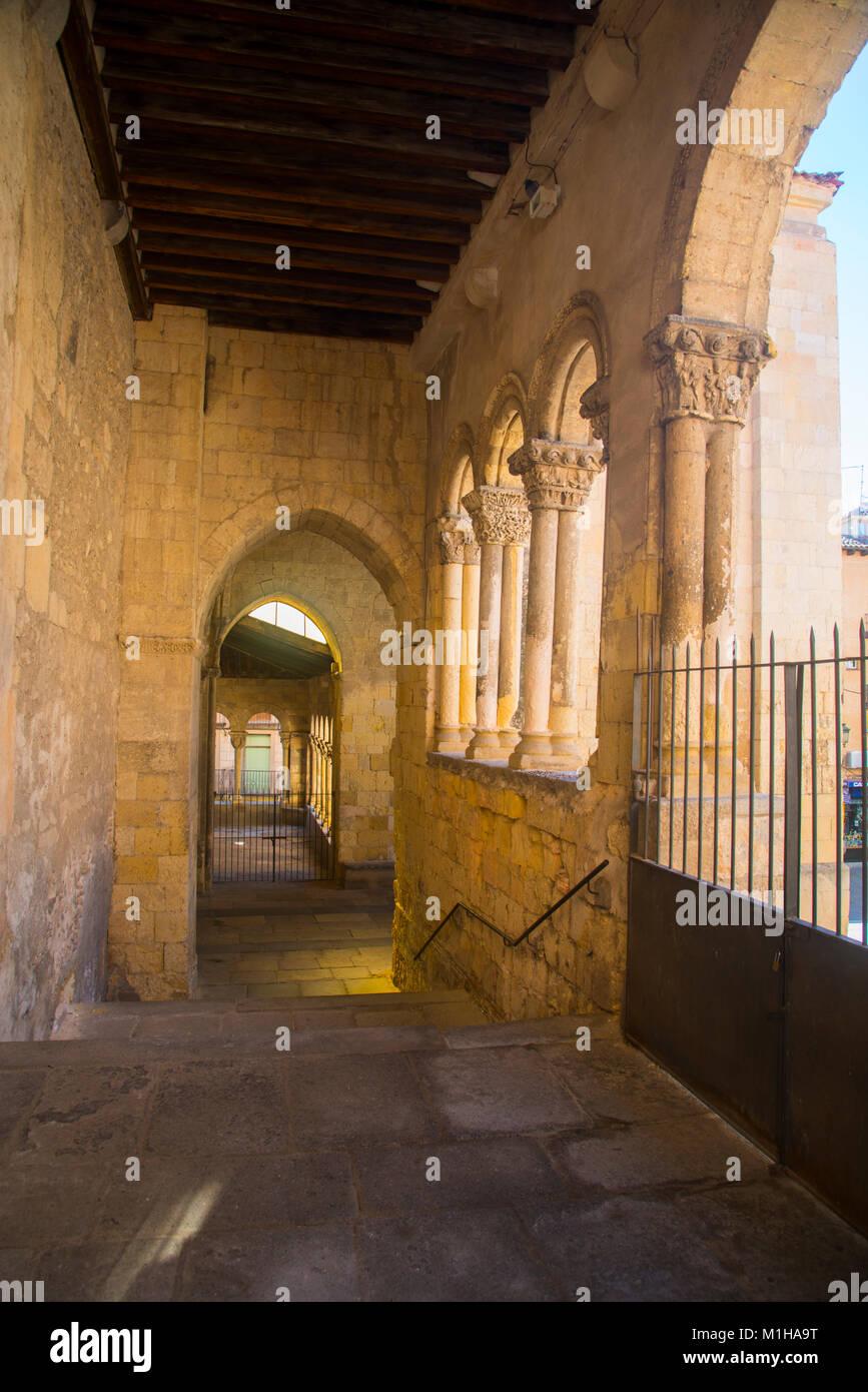 Portico of San Martin church. Segovia, Spain. - Stock Image