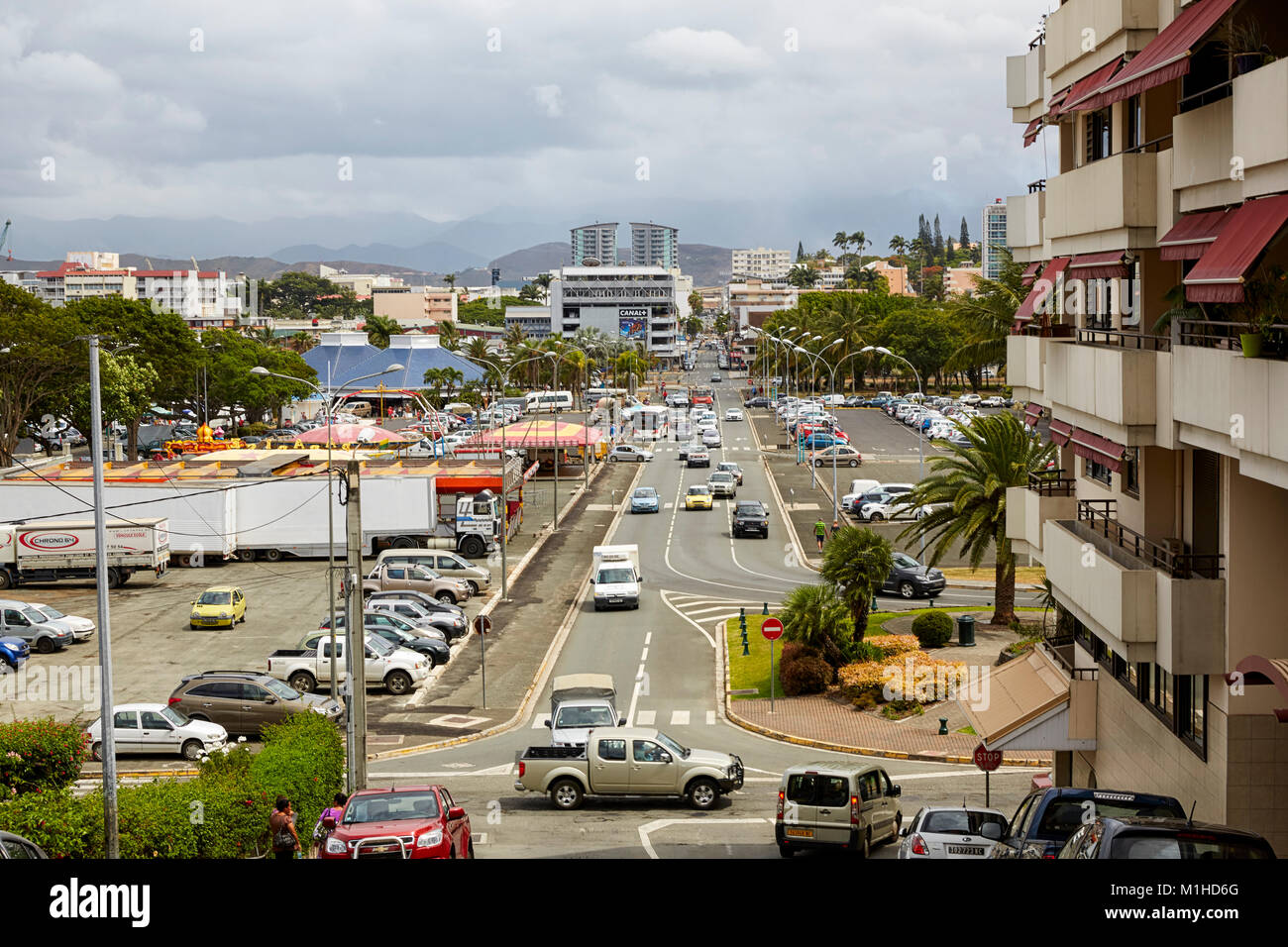 Rue Georges Clemenceau, Noumea, New Caledonia (Nouvelle-Caledonie) - Stock Image