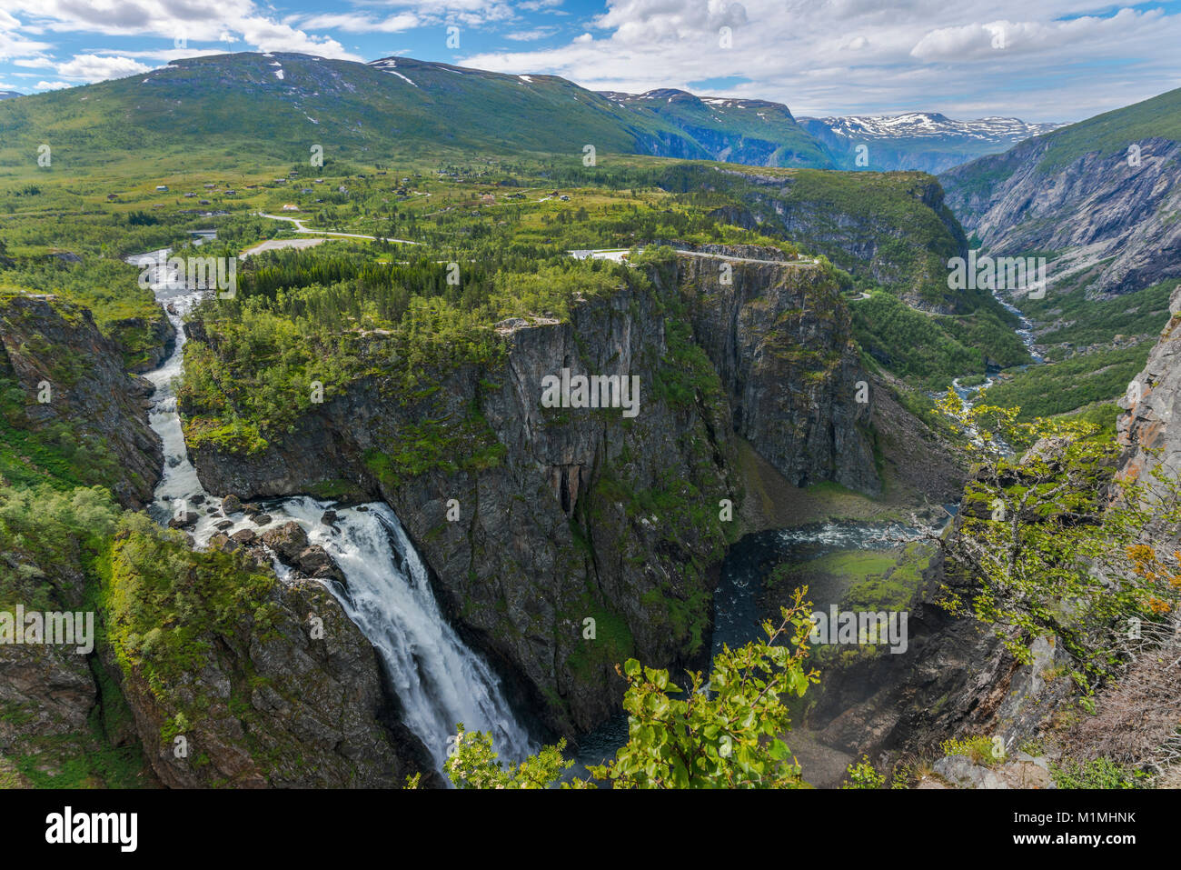 Waterfall Voringfossen and the canyon of Mabodalen, Norway, Scandinavia, also Voringsfossen, panorama with plateau - Stock Image