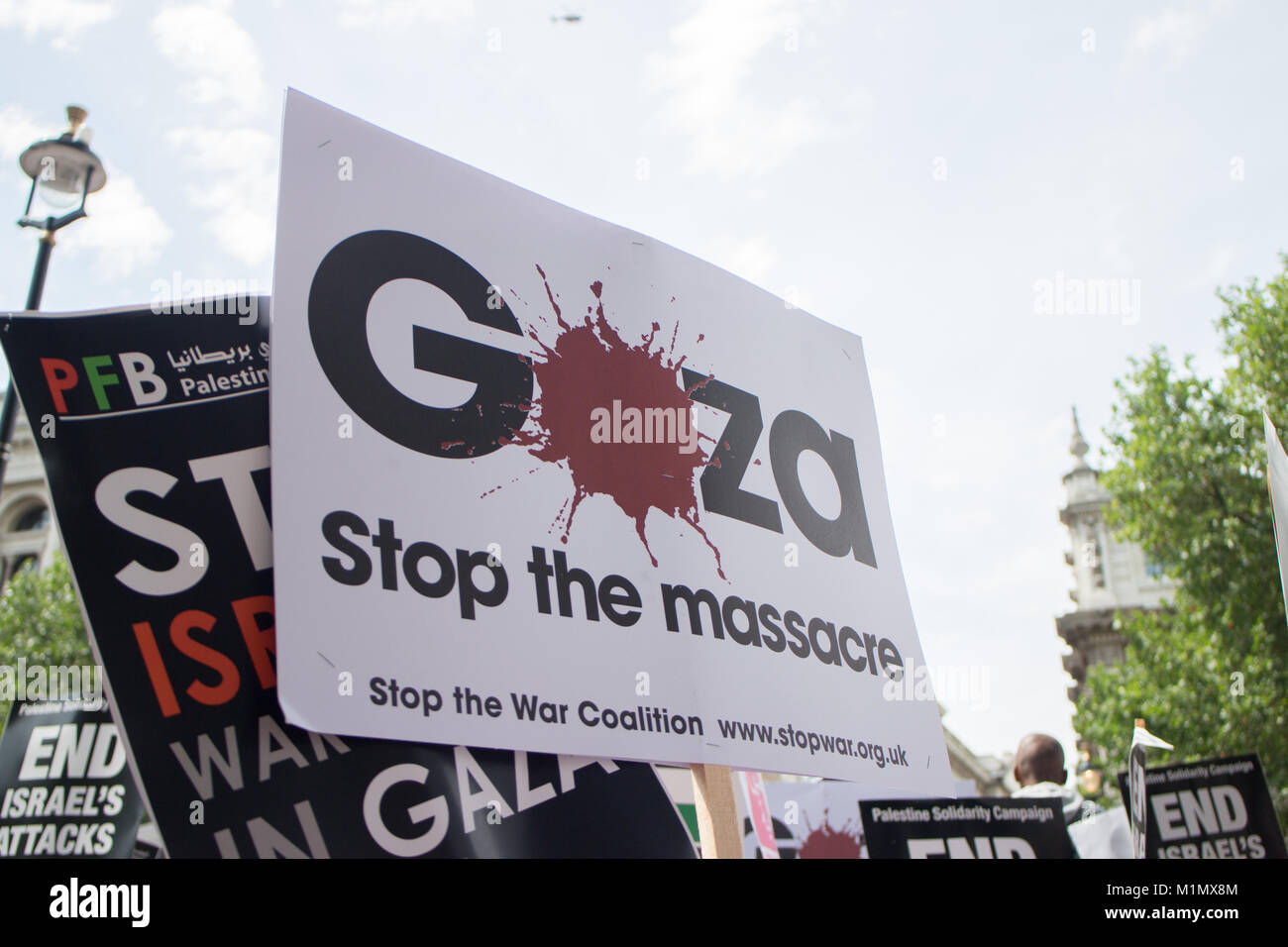 Plaques at Free Gaza Demo - Stock Image