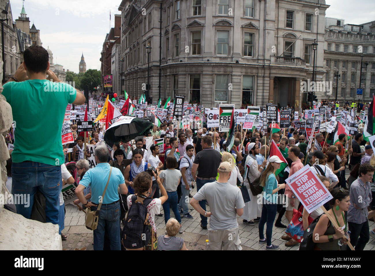 Gaza Demo - Free Palestine, At Westminister - Stock Image