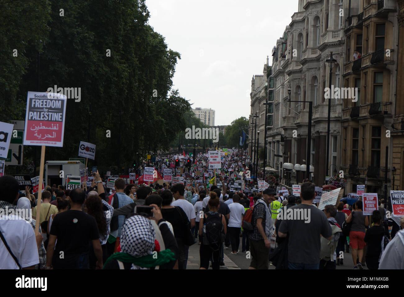 Gaza Demonstration - Free Palestine March - Stock Image