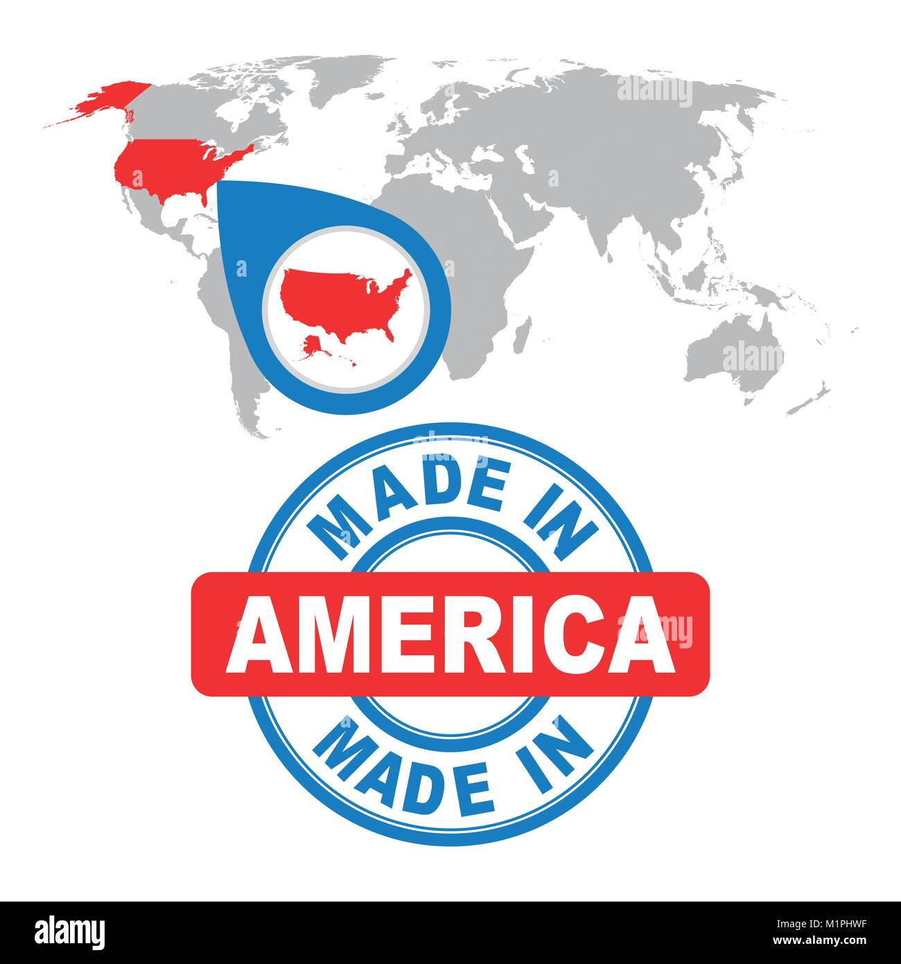 Made In America Usa Stamp World Map With Red Country Vector