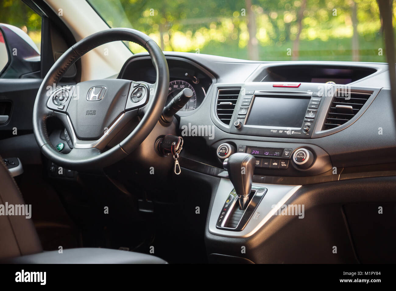 Novosibirsk, Russia -  June 18, 2017:  interior Honda CRV. Photography of a urban crossover in the street on a summer - Stock Image