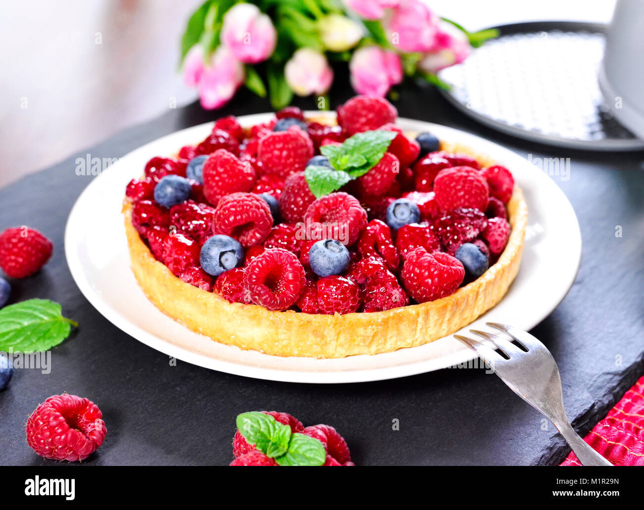 Beautiful Fruit Cake Fresh Birthday With Raspberries And Blueberries Biscuit Pie Decoration Fruitcake Summer Tart On A Table