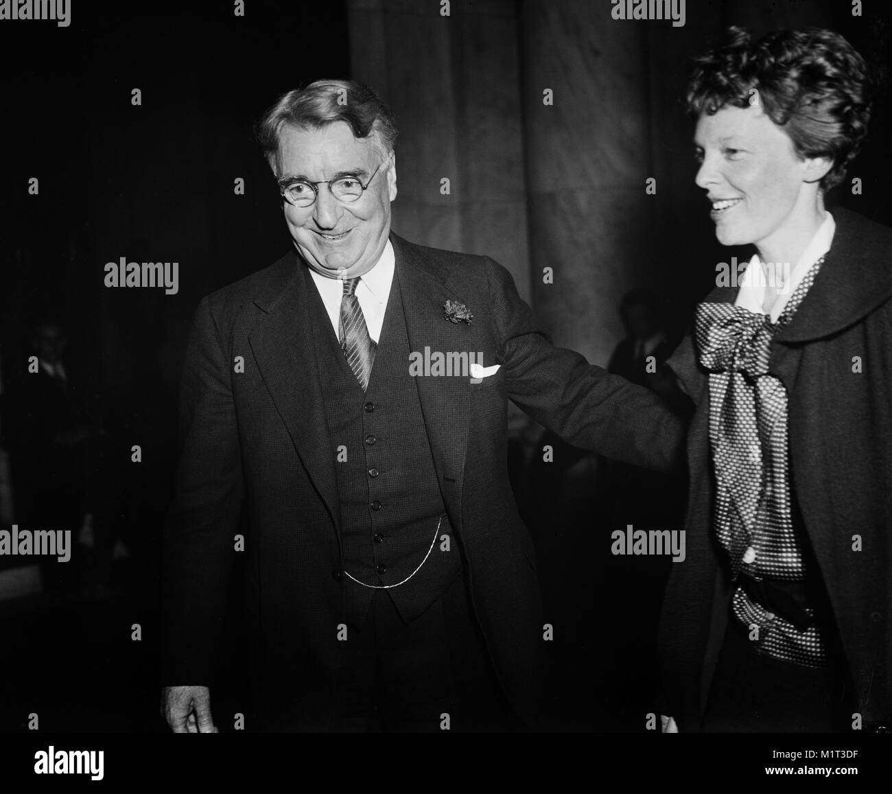 New York Senator Roy S. Copeland and Amelia Earhart at Senate Hearings on Aviation Safety, Washington DC, USA, Harris - Stock Image