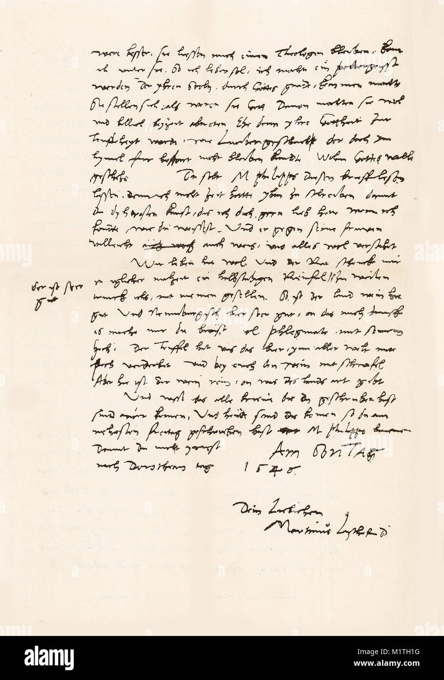 Second half of a facsimile of a letter written from Luther to his wife on February 7, 1546. From The Life of Luther - Stock Image