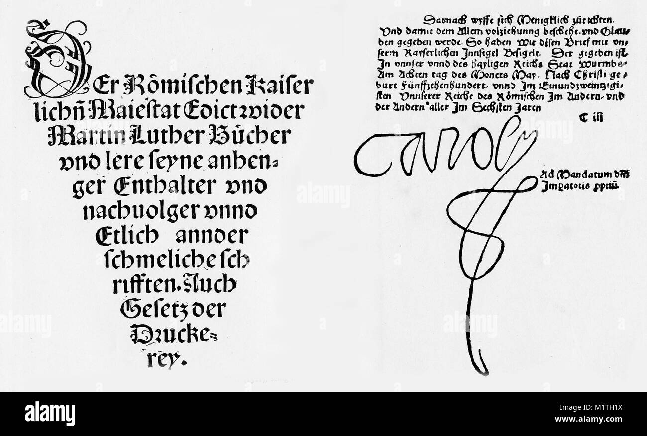 Facsimile of portions of the Edict of Worms, issed on May 8, 1521. Part of the title is shown at left, and the concluding - Stock Image