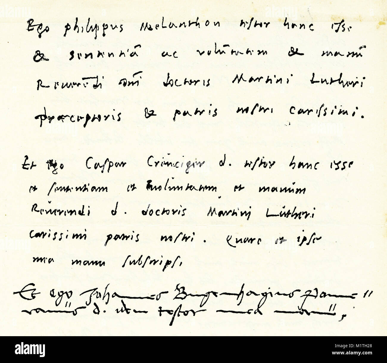 Facsimile of the final portion of Martin Luther's will, signed by Melancthon, Cruciger and Bugenhagen. (See - Stock Image