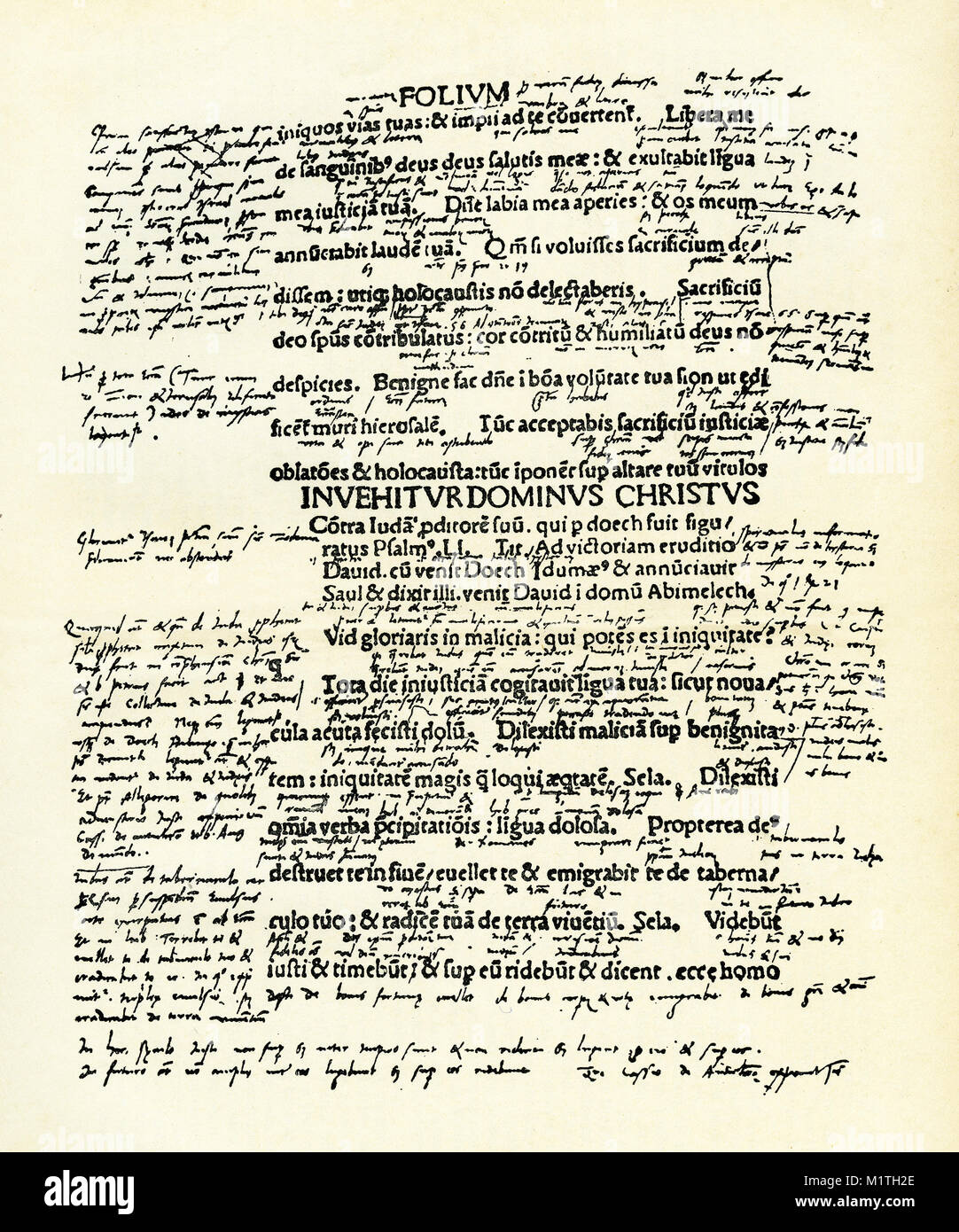 Facsmilie of a page from Martin Luther's psalter, showing his doctrinal thoughts. From the Life of Luther by - Stock Image