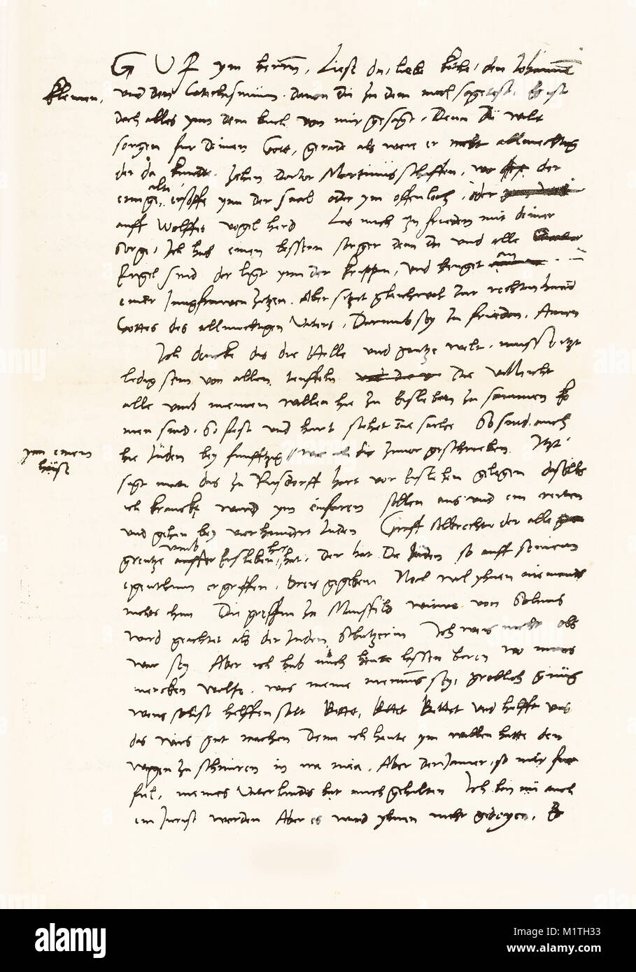 First half of a facsimile of a letter written from Luther to his wife on February 7, 1546. From The Life of Luther - Stock Image