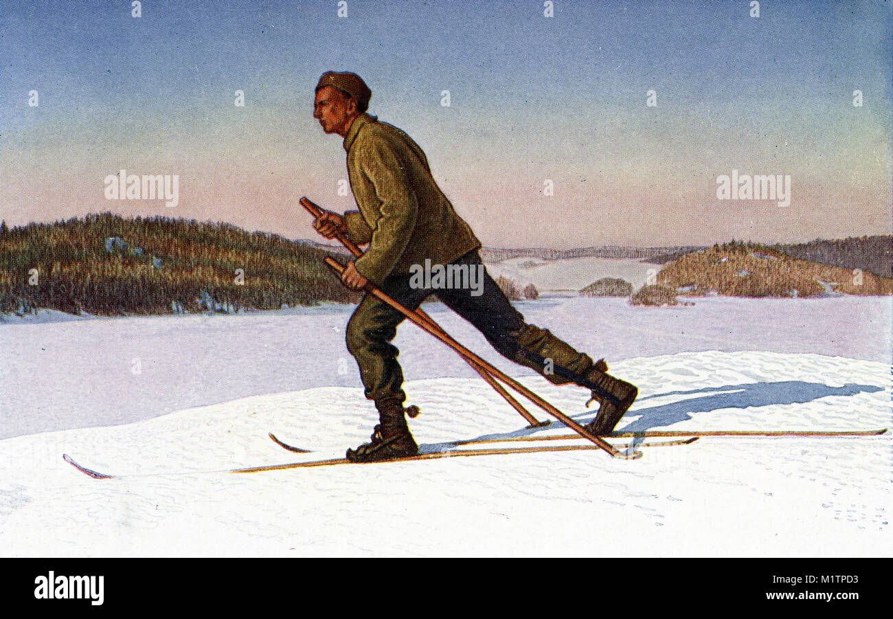 Halftone illustration of a man skiing in Norway, circa 1900. From an original image in How Other People Live by - Stock Image