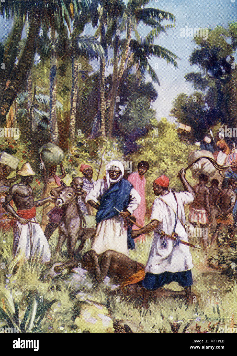 Halftone illustration of Arab slave traders at work in Africa, circa 1700s. From an original image in How Other - Stock Image