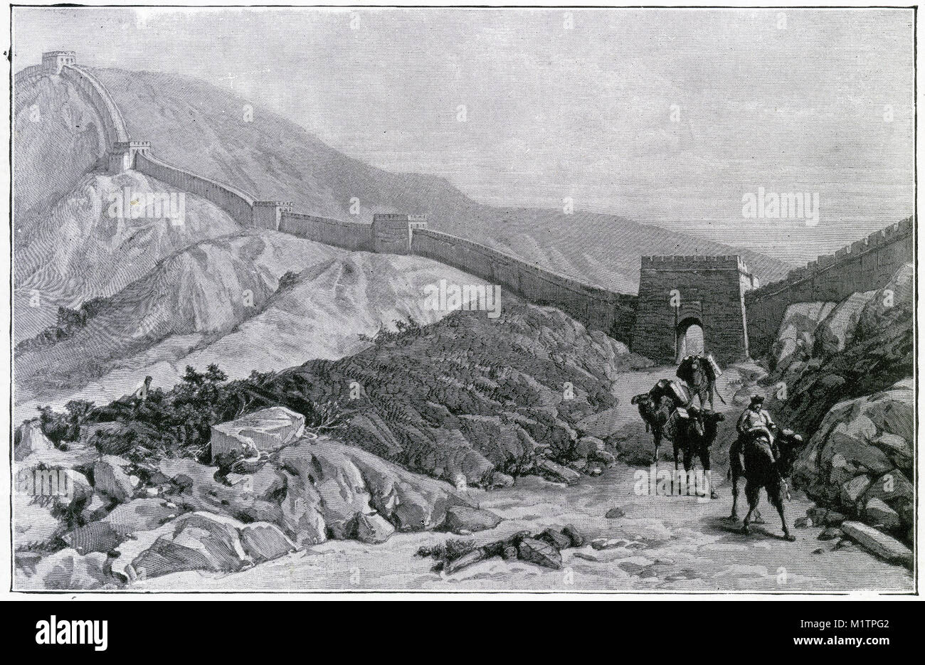 Halftone illustration of the Great Wall of China, circa 1900. From an original image in How Other People Live by - Stock Image