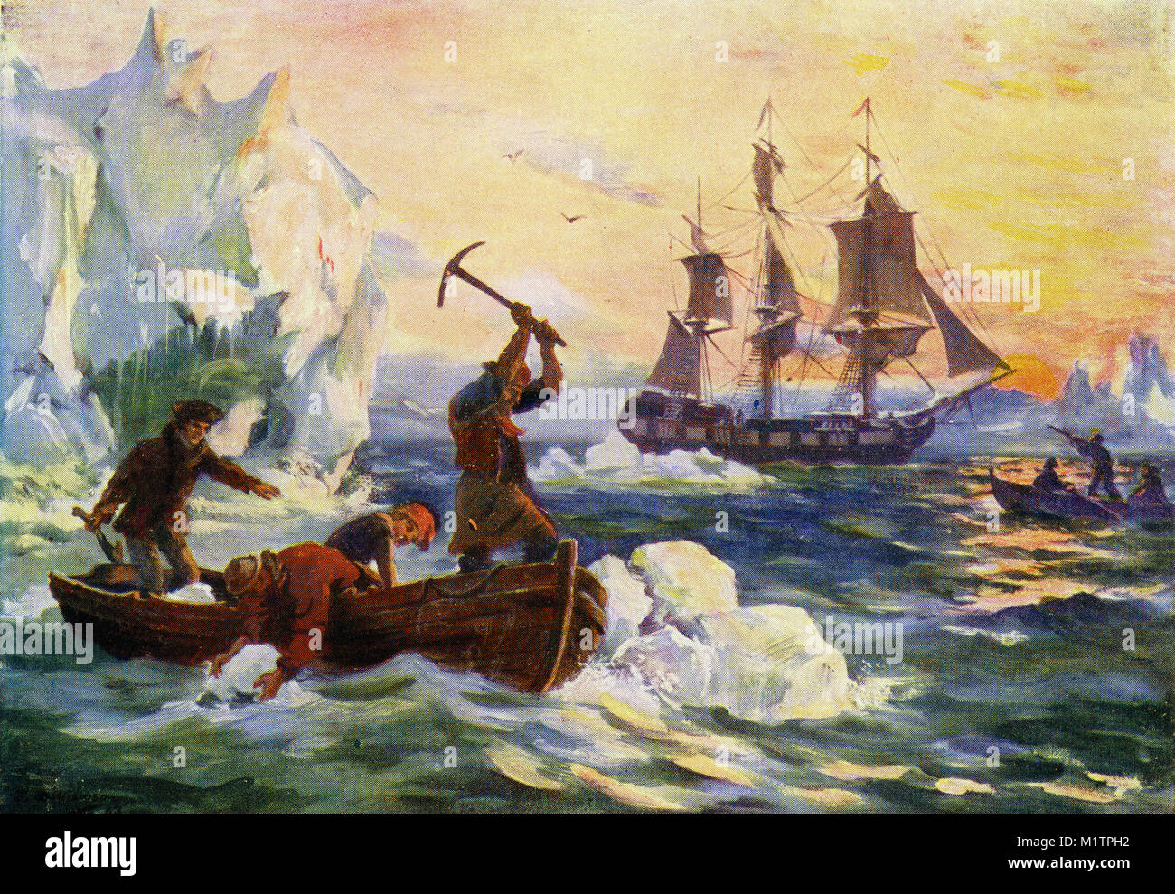 Halftone illustration of arctic explorers gathering icebergs to melt down for fresh water, while others shoot seabirds - Stock Image