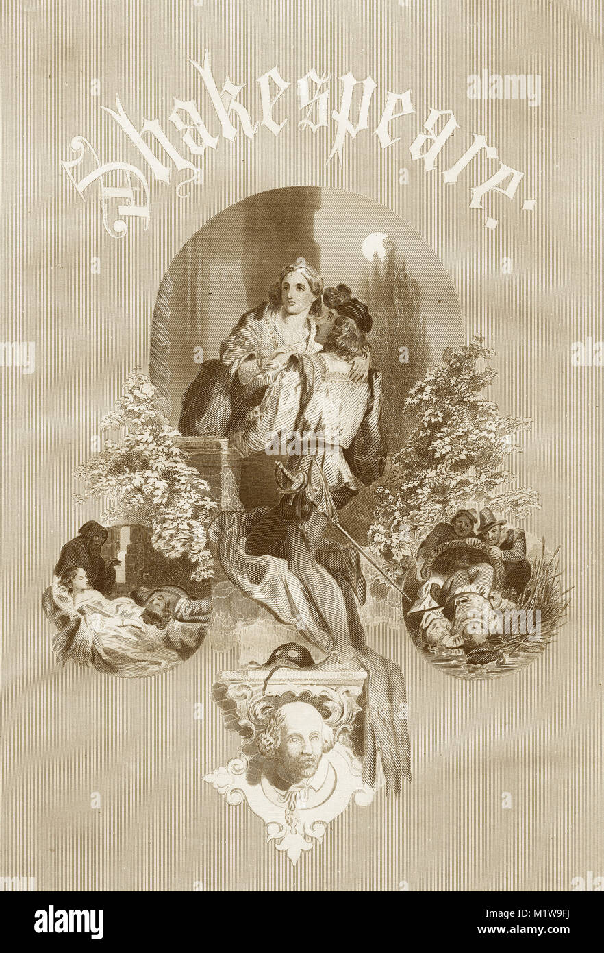 Engraving of various Shakespearean themes. From the Illustrated Complete Works of Shakespeare, 1878 - Stock Image