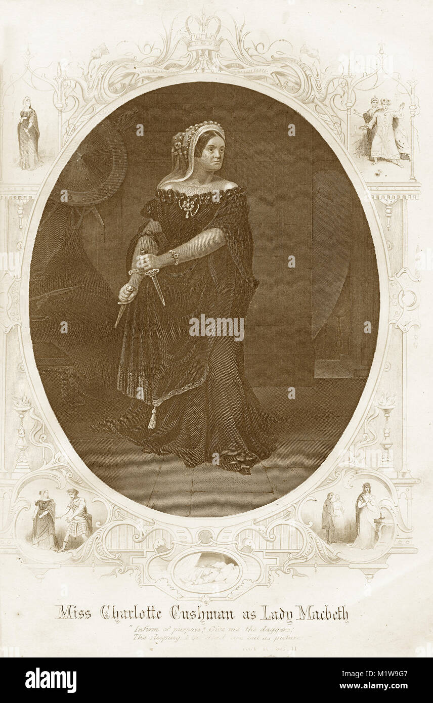 Engraving of the Shakespearean character Lady Macbeth, acted by an American, Charlotte Cushman in Macbeth. From - Stock Image