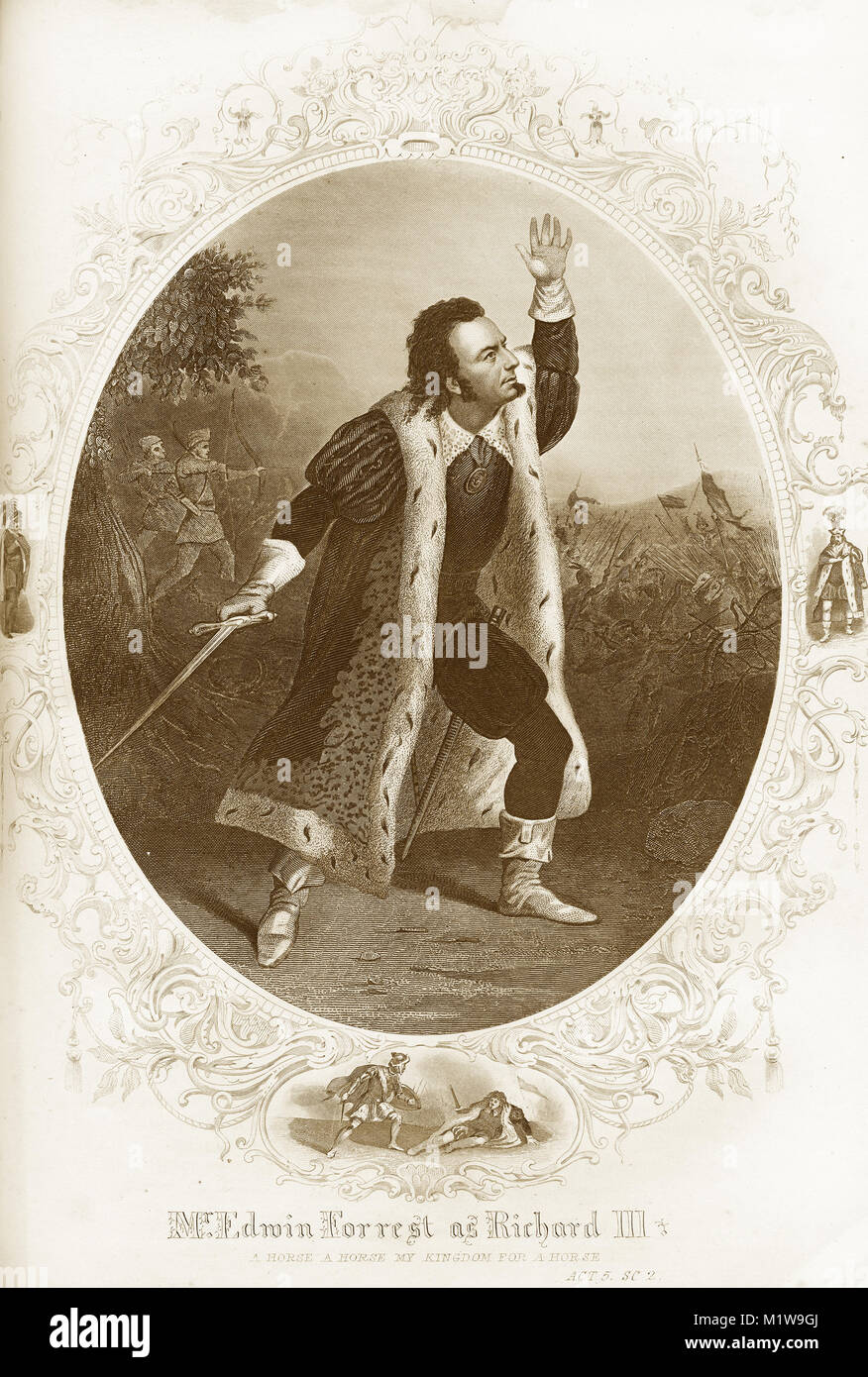 Engraving of the Shakespearean character Richard III, acted by  an American, Edwin Forrest, in Richard III. From - Stock Image
