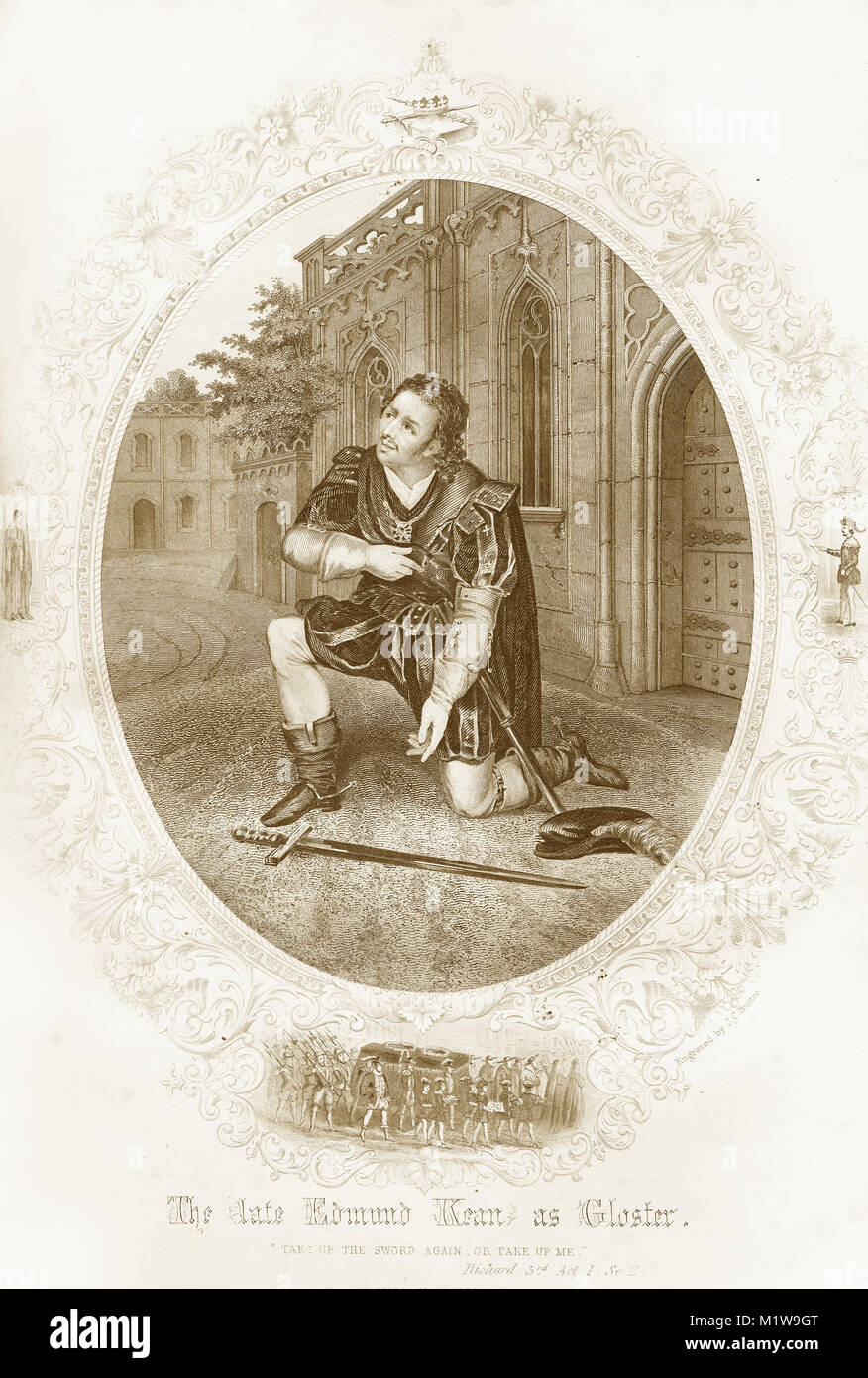 Engraving of the Shakespearean character Gloster, acted by an American, Edmund Kean in Richard III. From the Illustrated - Stock Image