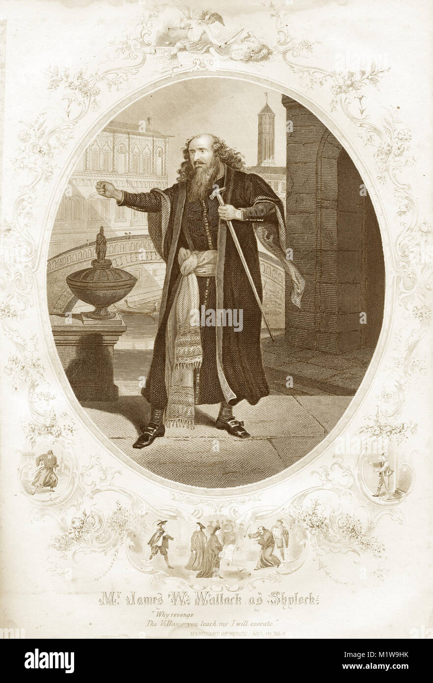 Engraving of the Shakespearean character Shylock, acted by an American, James W. Wallark in The Merchant of Venice. - Stock Image