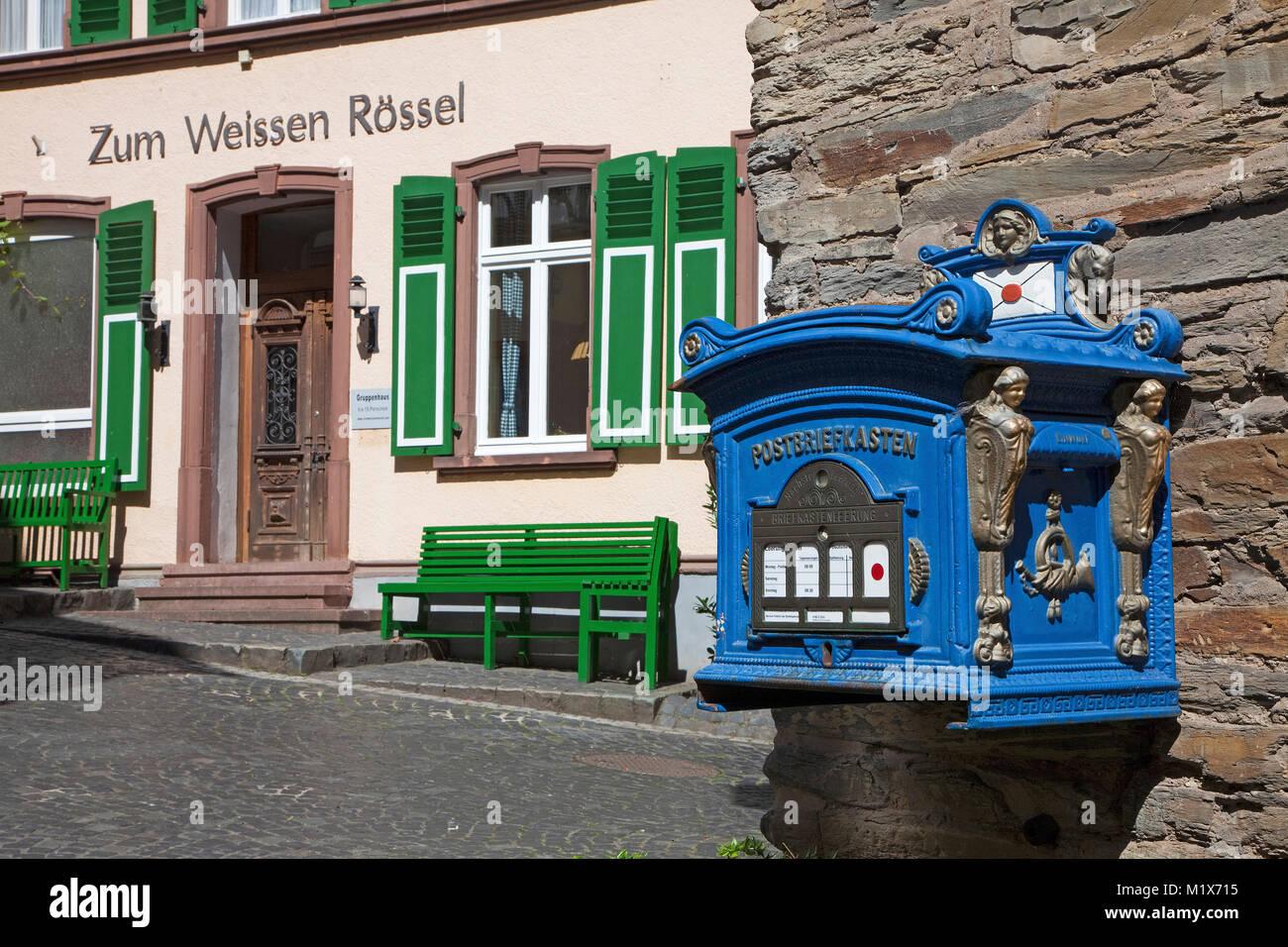 Nostalgic mailbox at wine village Uerzig, Moselle river, Rhineland-Palatinate, Germany, Europe - Stock Image