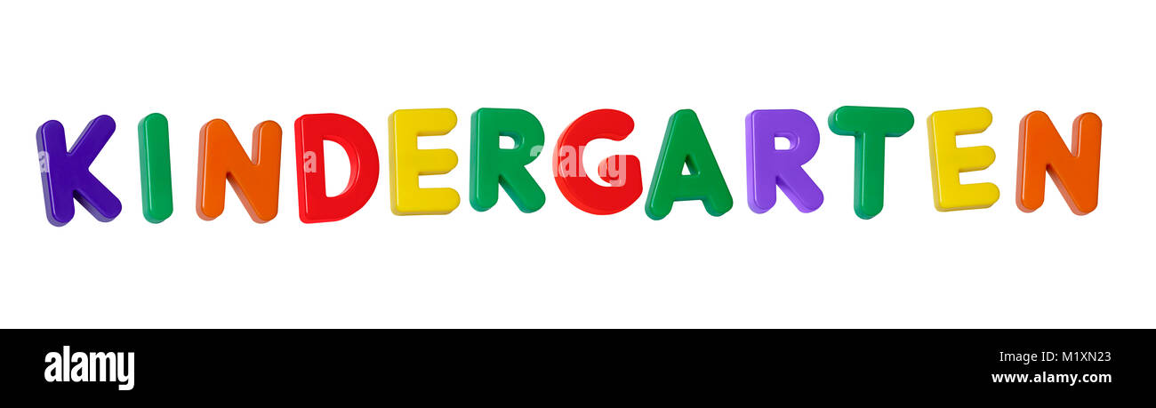 The word 'kindergarten' made up from coloured plastic letters - Stock Image