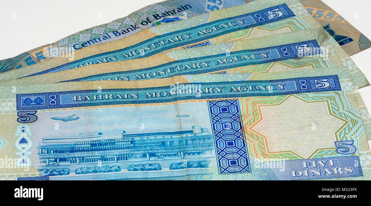Bahrain Currency Bank Notes - Stock Image