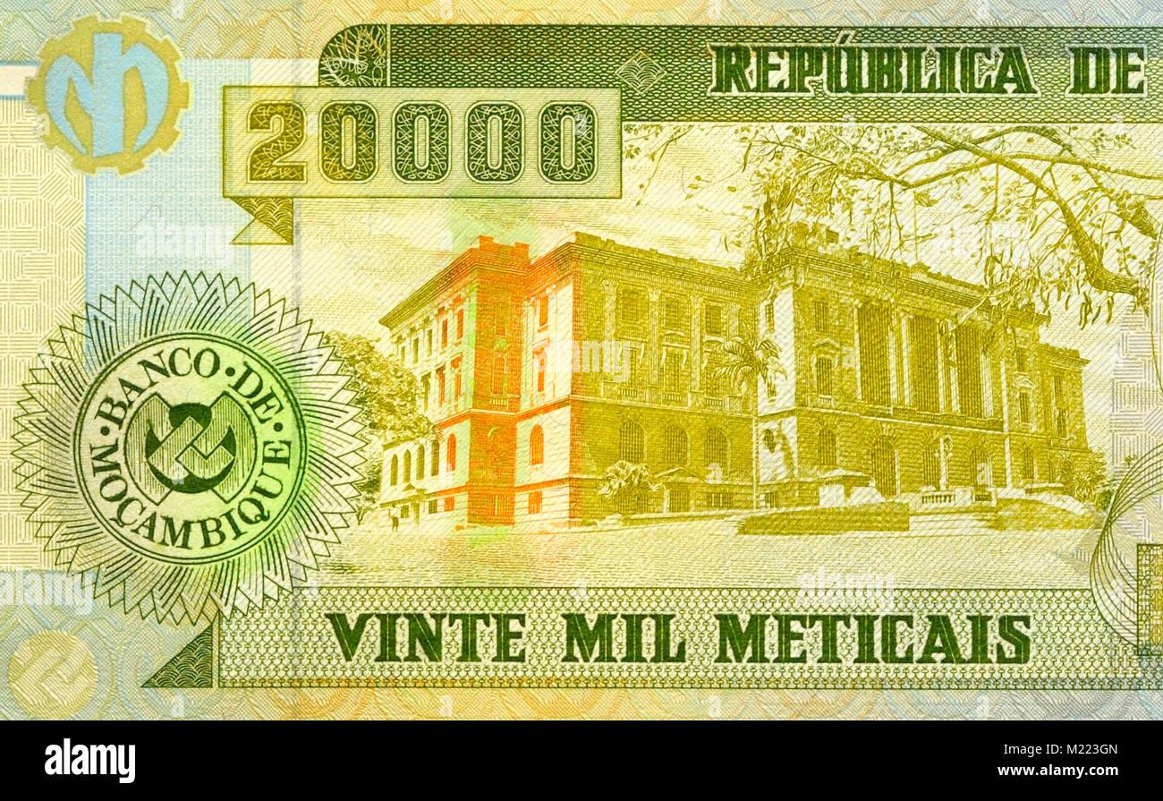Mozambique 20,000 Twenty Thousand Meticals Bank Notes - Stock Image