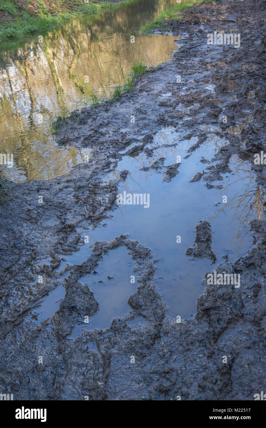 Really sodden muddy footpath in winter months. - Stock Image