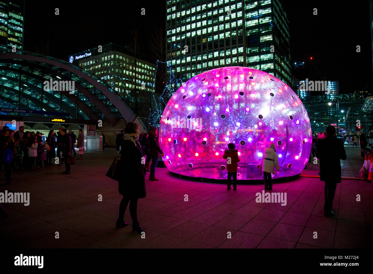 Sonic Light Bubble Winter by ENESS at Winter Lights Festival in Canary Wharf, London, UKStock Photo
