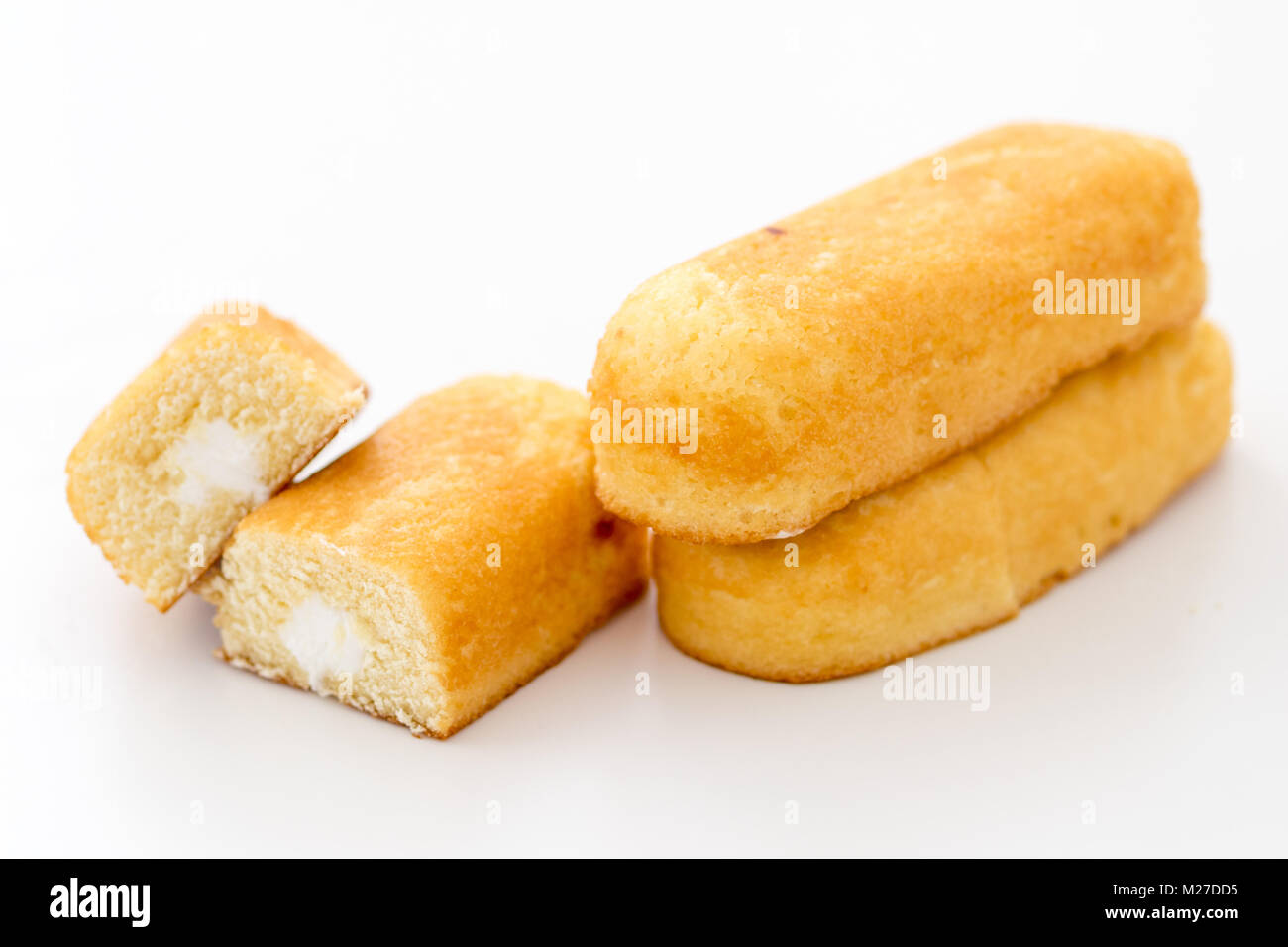 Twinkies (Twinkie) are a renowned American snack cake. - Stock Image
