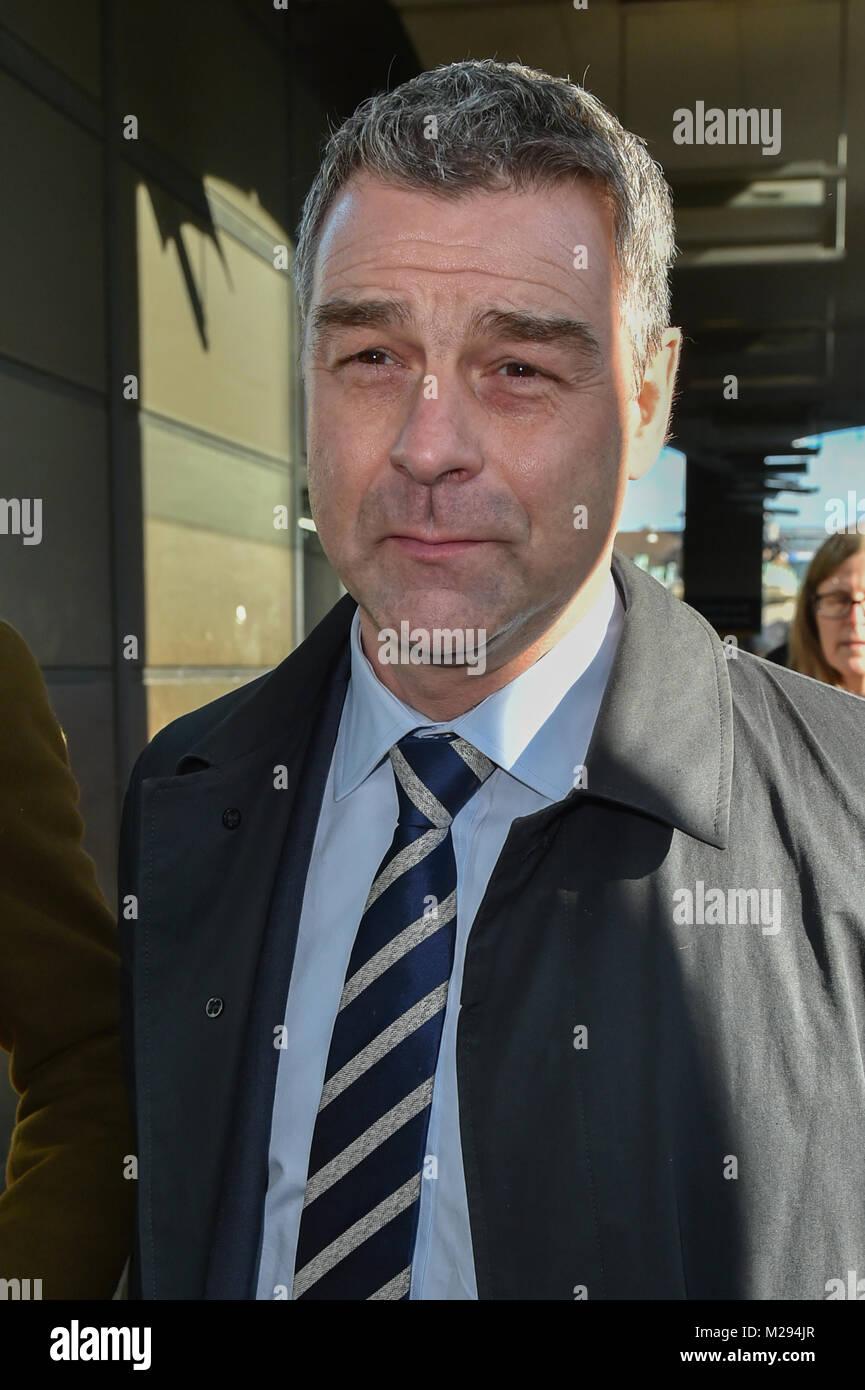 London, United Kingdom. 6 February 2018. Carillion executive Richard Howson departs Portcullis House after facing - Stock Image