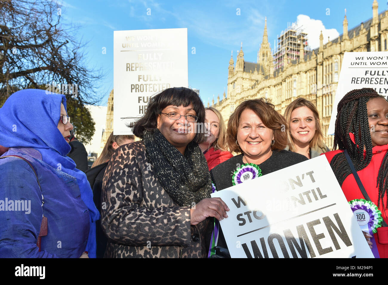 London, United Kingdom. 6 February 2018. Launch of Labour campaign to celebrate 100 years of women's suffrage.  - Stock Image