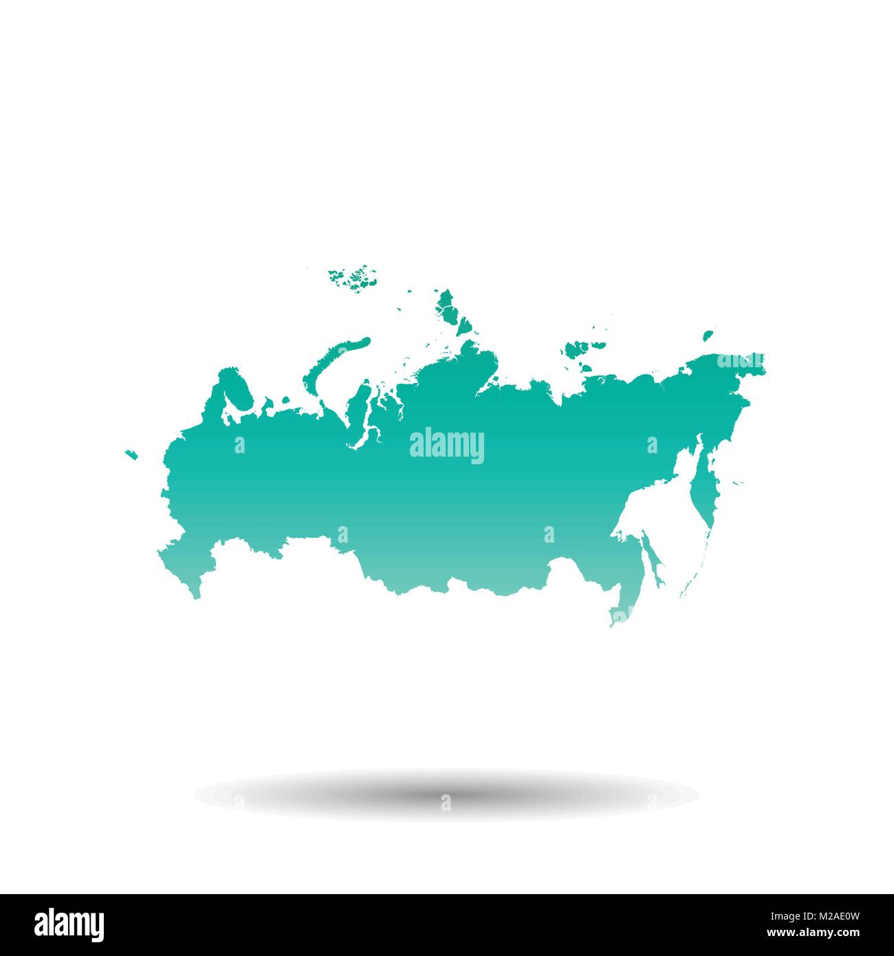 Russia, Russian Federation map. Colorful turquoise vector Stock ...